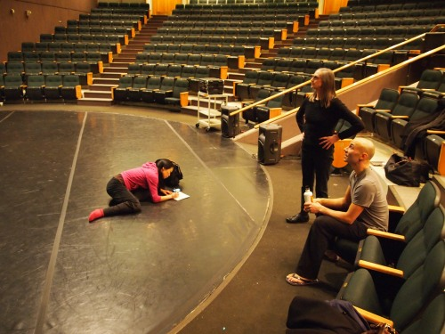 "Andrea, Peggy, and Sean in rehearsal at the University Theatre. ""Somehow,"" write Andrea, ""the atmosphere in the space increases in density as the piece ends."""